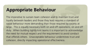 Appropriate Behaviour and standards